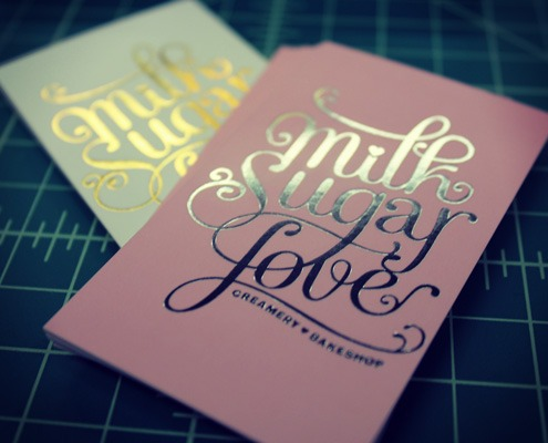 Milk Sugar Love: Gold and Silver Foil Ultra-Thick Business Card