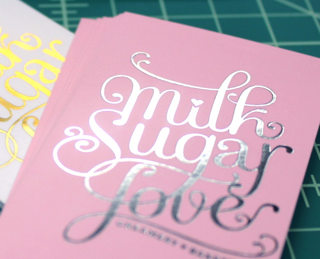 Milk Sugar Love | Silver and Gold Foil Ultra Thick Business Cards ...
