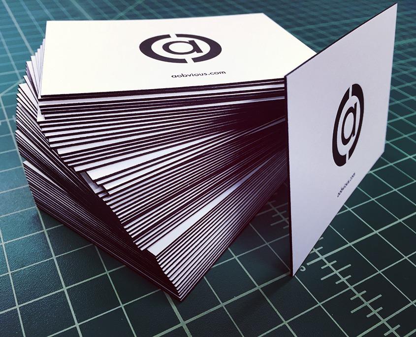 Aobvious edge painted letterpress business card remco press aobvious ultra thick letterpress edge painted business cards reheart Choice Image