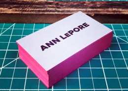 Aobvious edge painted letterpress business card remco press ann lepore hot pink edge painted business card reheart Gallery