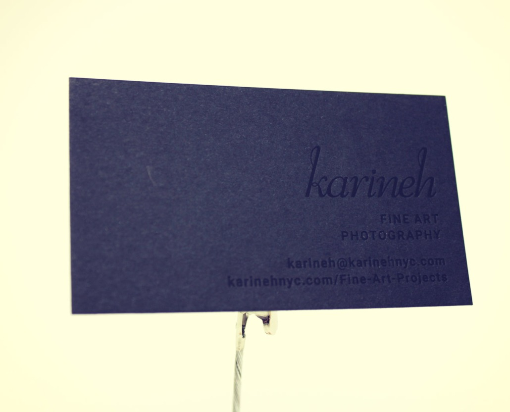 karineh 32pt blind letterpress and black foil ultra thick business card - Foil Stamped Business Cards