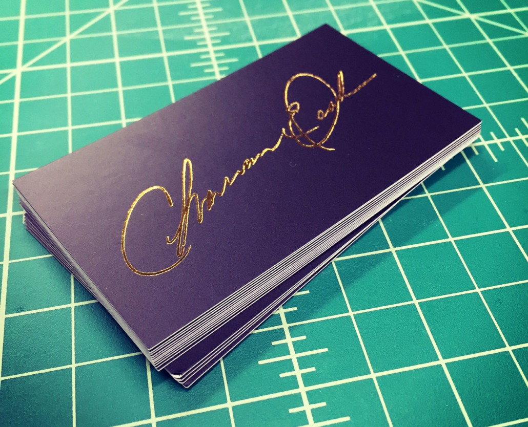 Charmaine   Signature Gold Foil Business Cards   Remco Press