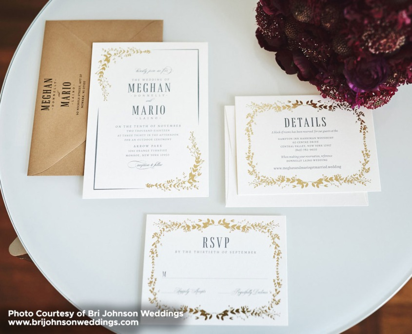Megan and Mario: Foil Stamped Wedding Invitations